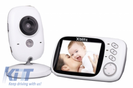 Xblitz Kinder Electronic Nanny Baby Monitor, Wireless, 2,4 GHZ, 3.2 Inch TFT LCD Screen , Night Vision, Bidirectional Communication, White - XBENANY
