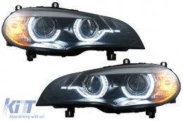 Xenon Headlights Angel Eyes 3D Dual Halo Rims LED DRL suitable for BMW X5 E70 (2007-2010) Black - HLBME70B
